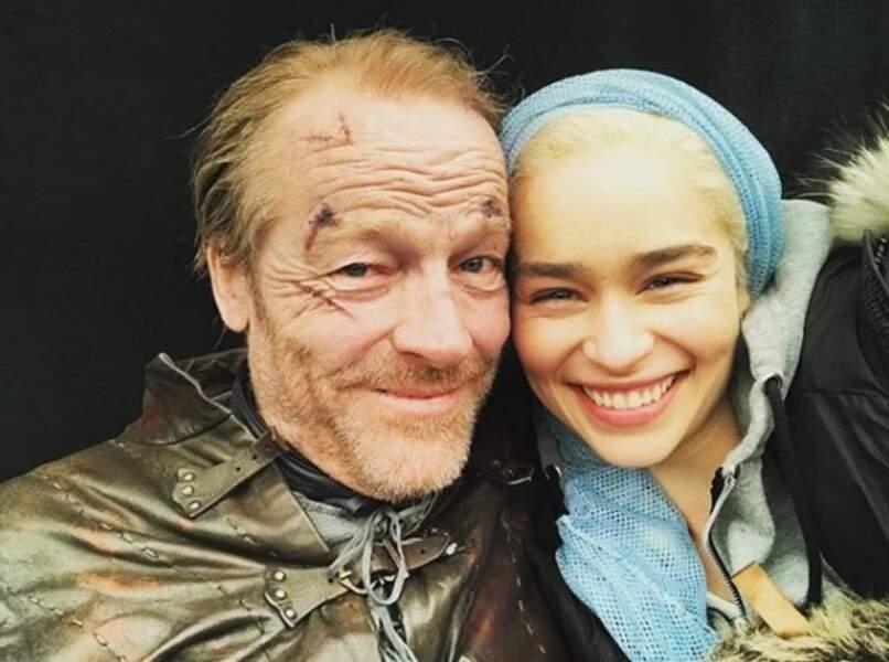 Dany et son fidèle Jorah ! Petit selfie entre deux acteurs devenus amis, après le fatidique épisode 3