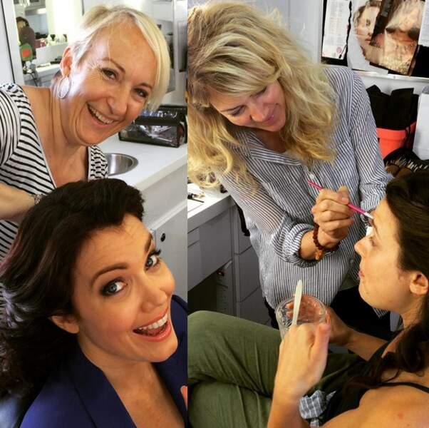 Pendant ce temps, les filles se font maquiller