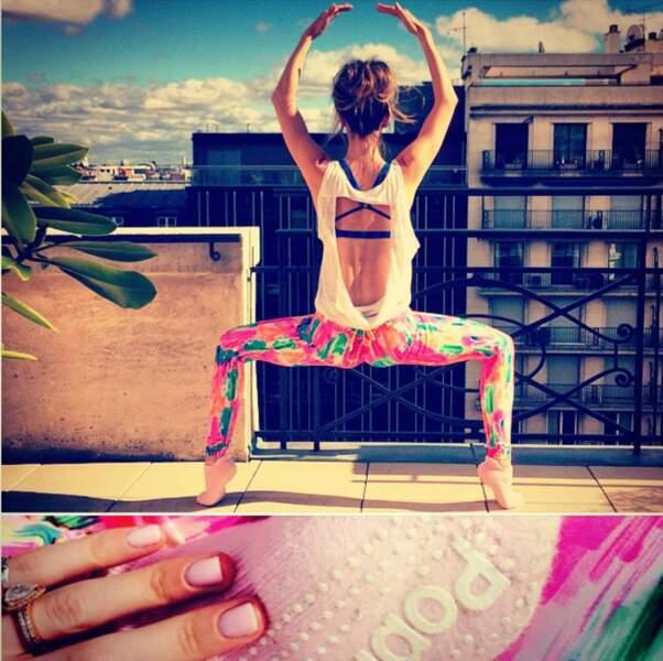 Même à Paris, pas question de louper une séance de gym pour Kate Voegele