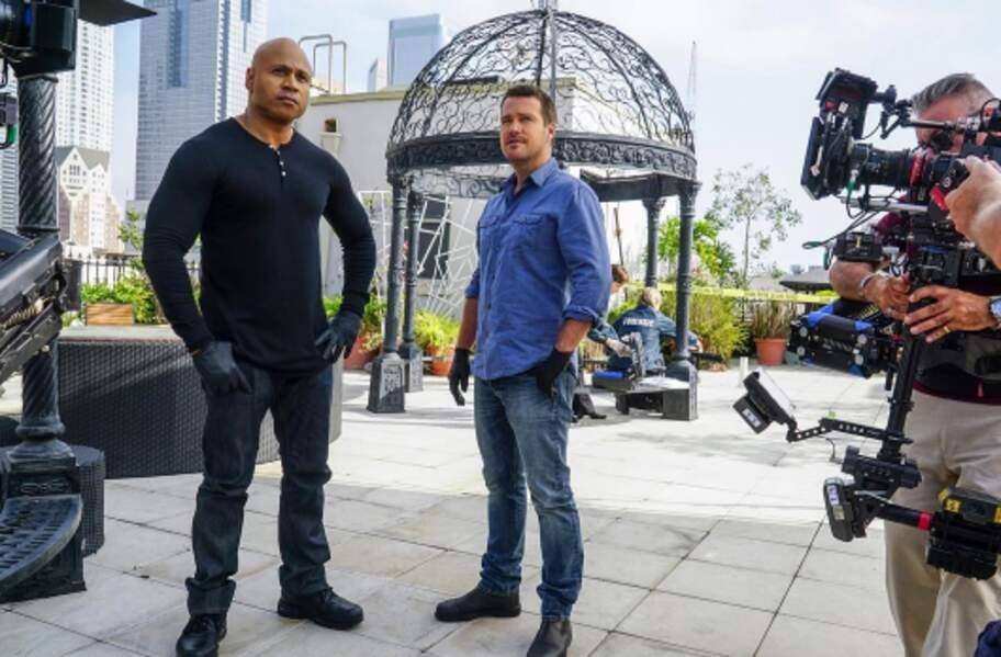 Malgré les appareils photos, LL Cool J et Chris o'Donnell, de NCIS : Los Angeles, sont imperturbables