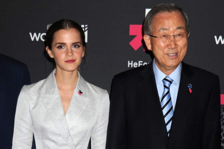 Emma Watson aux côtés de Ban Ki-moon, Secrétaire général des Nations Unies