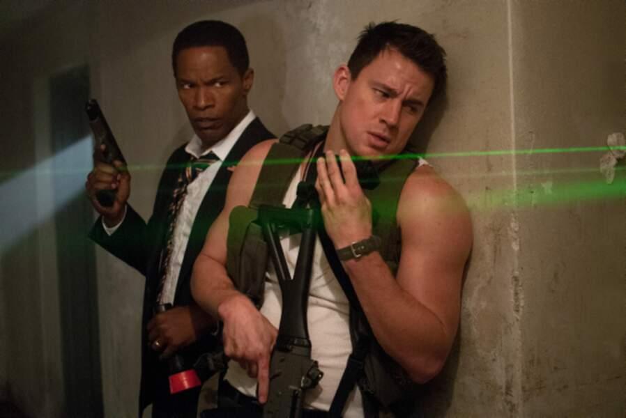 Channing, en marcel, sauve le Président des États-Unis (Jamie Foxx) dans l'explosif White House Down (2013).