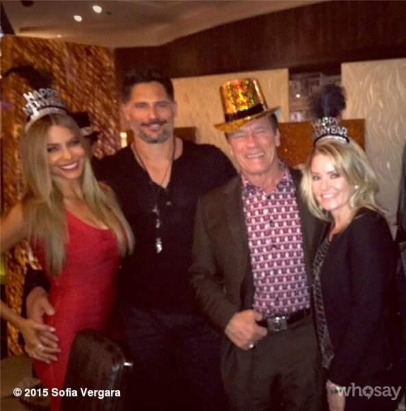 Les jeunes fiancés Sofia Vergara et Joe Manganiello ont passé la soirée avec Arnold Schwarzenegger