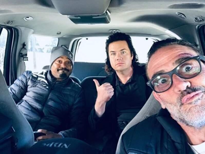 Gabriel, Eugene et Negan en route vers le plateau de The Walking Dead