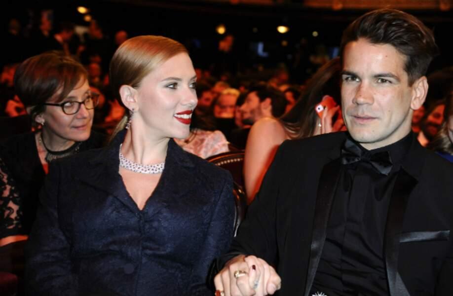 C'est toujours le big love entre Scarlett Johansson et son fiancé français Romain Dauriac