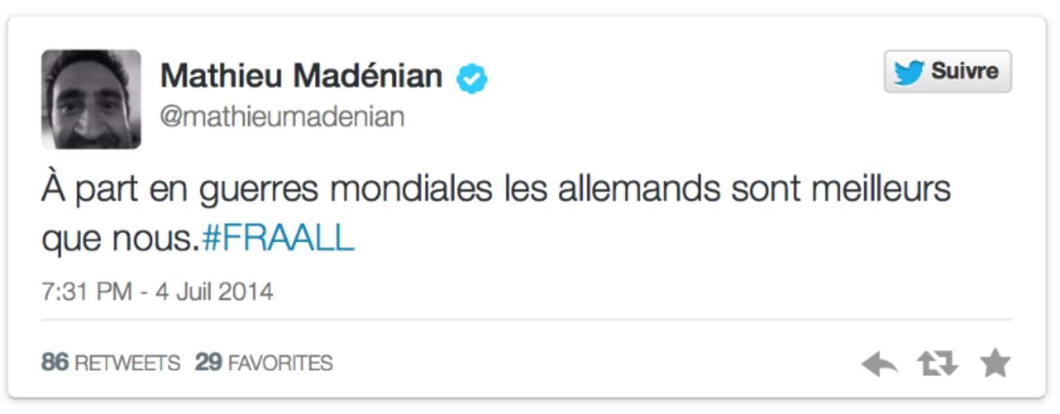 Mathieu Madénian n'a pas perdu son sens de l'humour