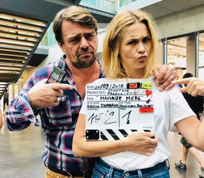 Barbara Schulz et Thierry Godard sur le tournage de Mauvaise mère, prochaine fiction pour France 3
