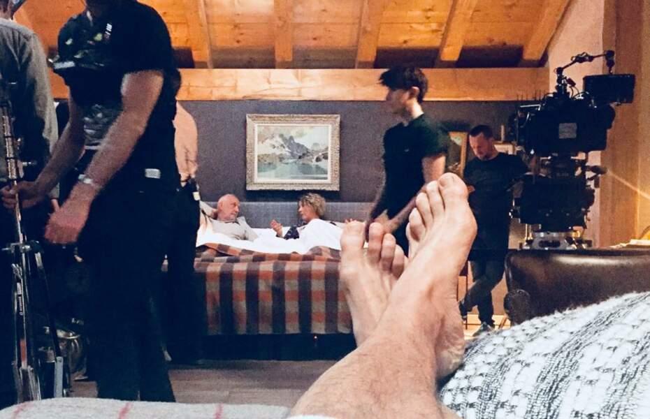 Voici les pieds de François Vincentelli, sur le tournage des Chamois, la série hivernale de TF1
