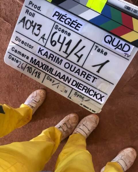 Et a aussi enfilé ses plus belles chaussures pour le tournage de Piégée, nouveau thriller de M6