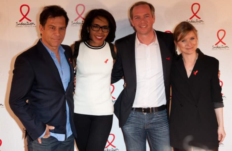 Karine de Ménonville et Ronald Guintrange de BFM-TV, Julien Arnaud de LCI et Audrey Pulvar de D8