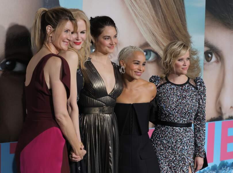 Avec Laura Dern, Nicole Kidman, Shailene Woodley et Reese Witherspoon pour la série Big Little Lies