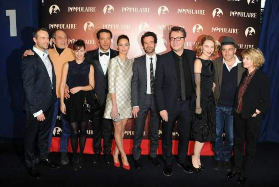 Les acteurs et le réalisateur à l'avant-première de Populaire