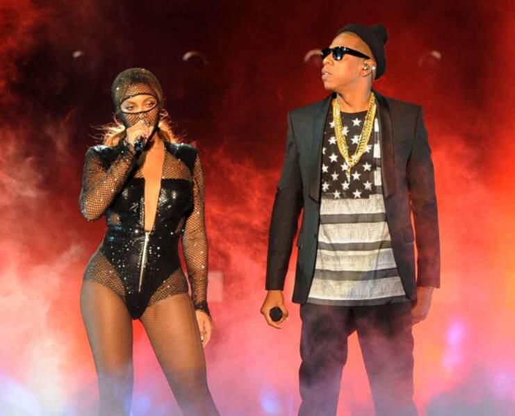 Sur scène, avec son mari le rappeur Jay Z.