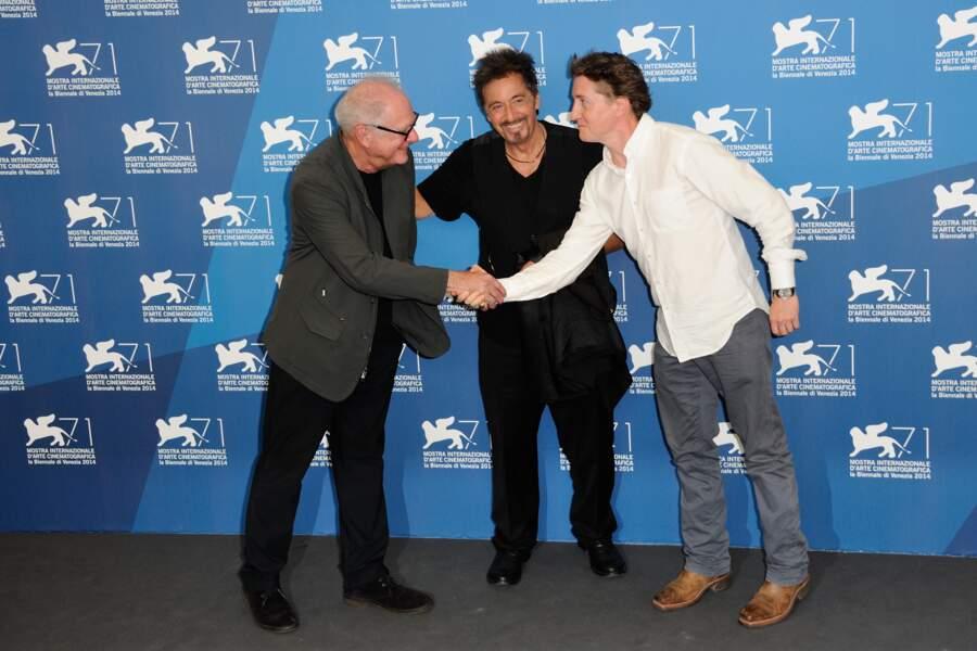 En lice avec deux films, Al Pacino a posé avec les deux réalisateurs : Barry Levinson et David Gordon Green