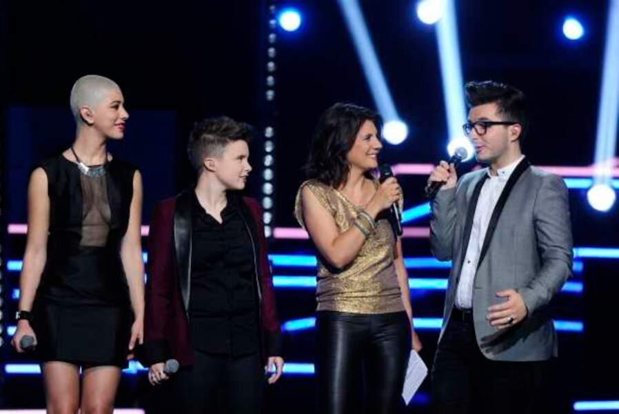 Estelle Denis avec Dièse, Loïs et Olympe, révélés par The Voice