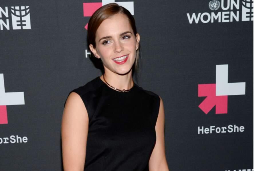 La star en tenue de gala lors de la soirée de lancement de l'opération HeForShe