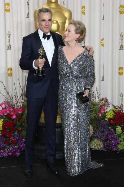 Daniel Day Lewis, meilleur acteur pour Lincoln et Meryl Streep