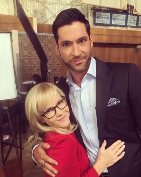 Tom Ellis et Rachael Harris complices sur le tournage de la série Lucifer