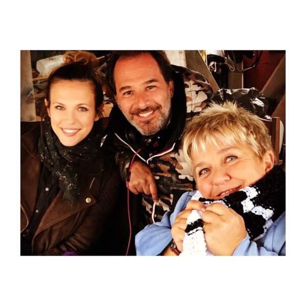 Lorie et Mimie Mathy, heureuses de se retrouver sur le tournage de Demain nous appartient, à Sète.