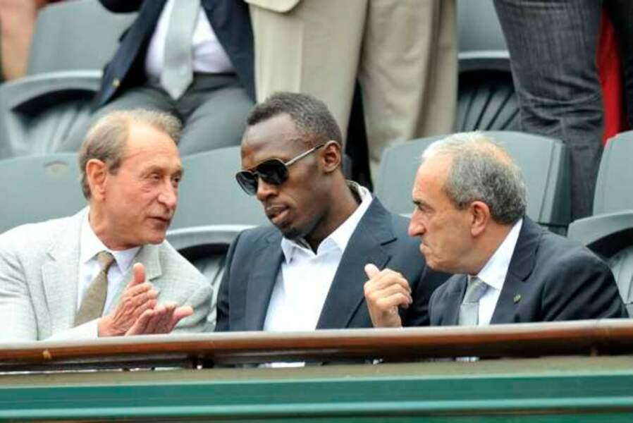 Bertrand Delanoë, Usain Bolt et Jean Gachassin (président de la FFT) en grande discussion