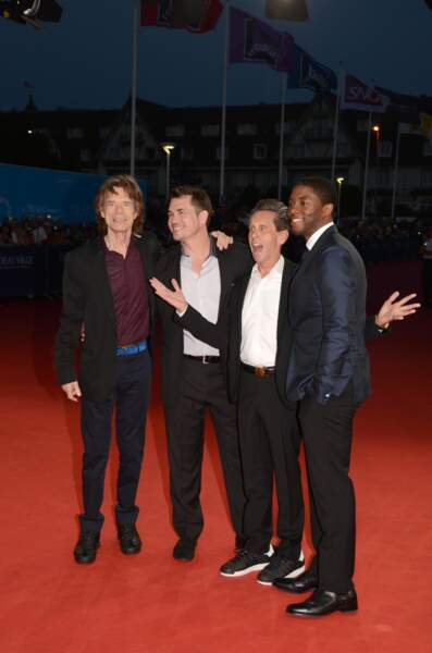 L'équipe de Get On Up : Mick Jagger, Tate Taylor, Brian Grazer et Chadwick Boseman, qui joue James Brown