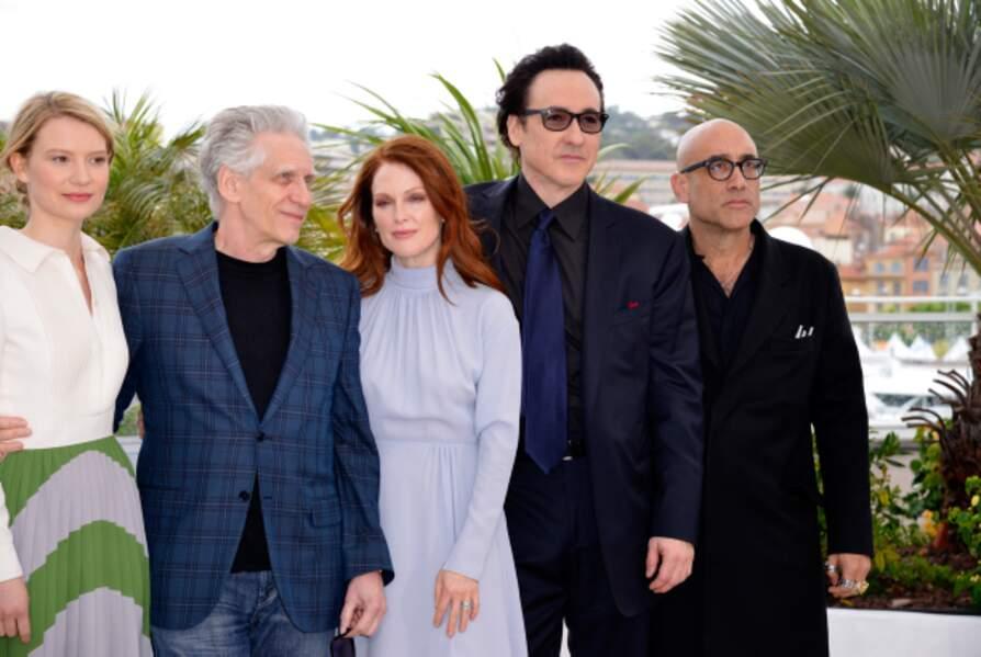 David Cronenberg entouré de ses stars Mia Wasikowska, Julianne Moore, John Cusack et du scénariste