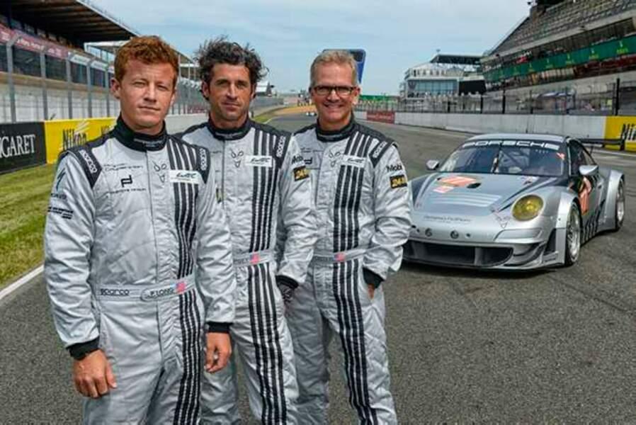 Patrick Dempsey avec ses coéquipiers Joe Foster et Patrick Long