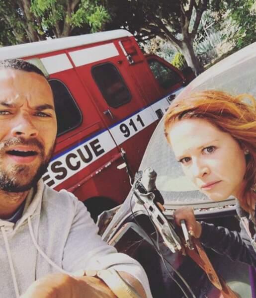 Jesse Williams et Sarah Drew sur le tournage du dernier épisode de la saison 12 de Grey's Anatomy !