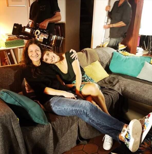 Julie de Bona sur le tournage du téléfilm Comme un père pour M6