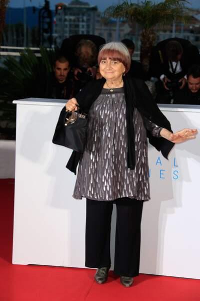 Agnes Varda après avoir reçu une Palme d'Or d'honneur