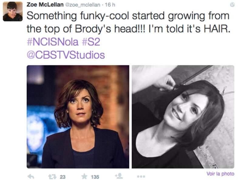 NCIS : Nouvelle-Orléans : pour la saison 2, Zoe McLellan aura une nouvelle coupe, enfin...une perruque
