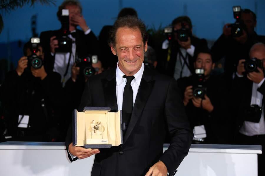 Vincent Lindon et son prix d'interprétation pour le film La Loi Du Marché à Cannes 2015