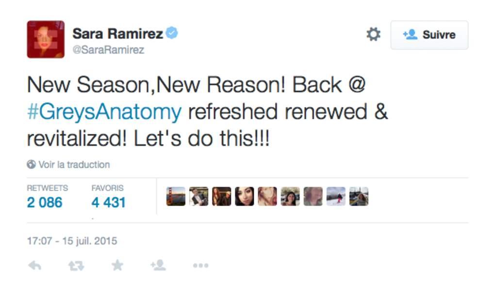 Grey's Anatomy : Sara Ramirez est dans les starting block (opératoires)...