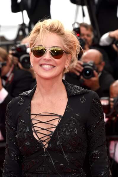 Sharon Stone, rayonnante avant la projection de The Search
