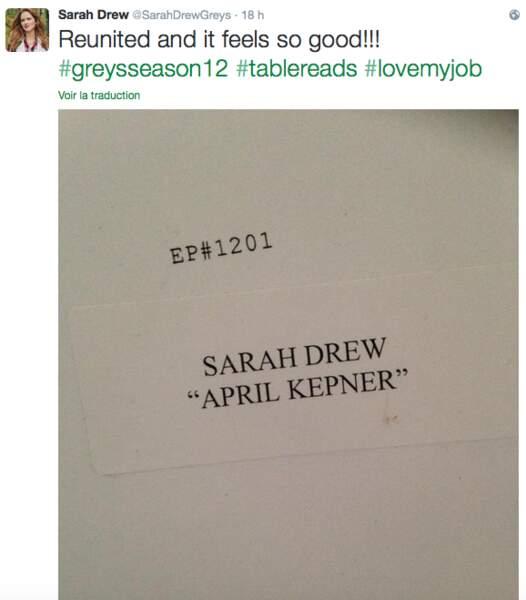 Premier jour au boulot pour Sarah Drew (Grey's Anatomy)