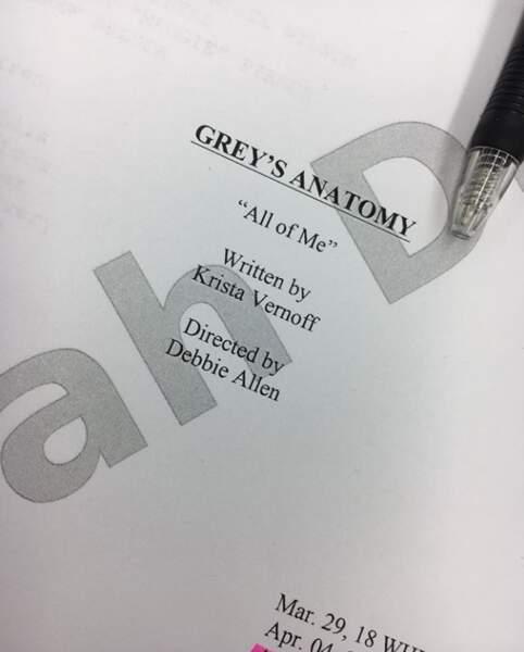 Sarah Drew (April) a posté une image du script de son tout dernier épisode dans Grey's Anatomy.