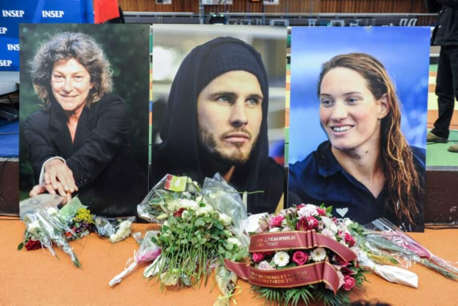 Les portraits des trois victimes : Florence Arthaud, Alexis Vastine et Camille Muffat