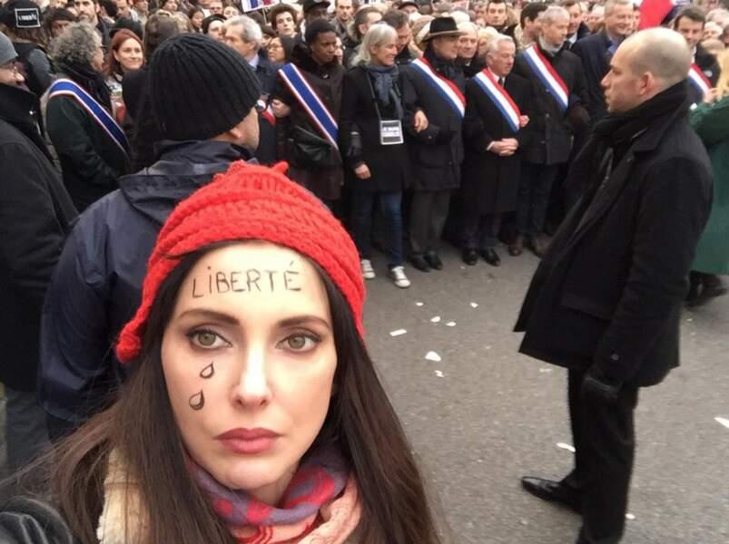 La voici durant la manifestation du 11 janvier dernier #JeSuisCharlie