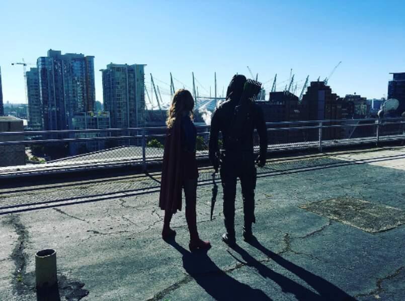 Belle vue sur le tournage du crossover d'Arrow et Supergirl