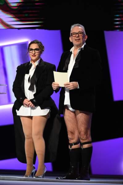 Marilou Berry et Jean Paul Gaultier sont arrivés à demi-nus pour remettre le César des meilleurs costumes. Logique
