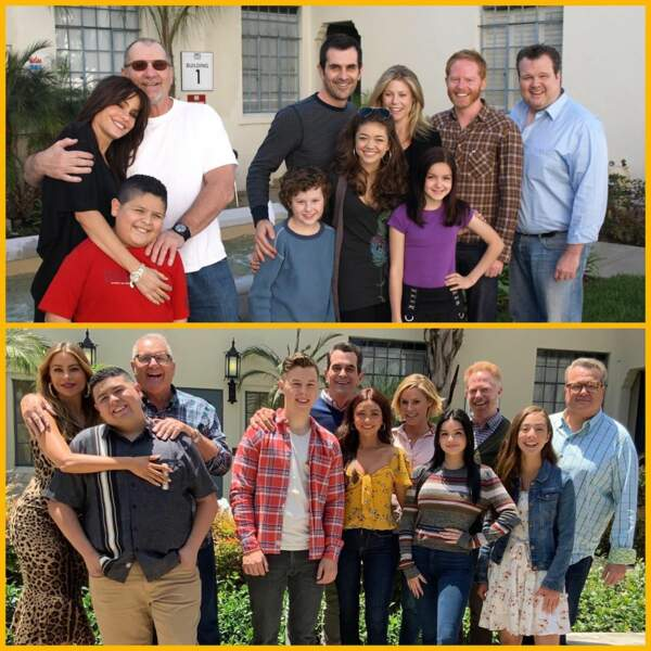 10 ans séparent ces deux photos : avant/après, la troupe de Modern Family n'a pas fini de rire et de faire rire