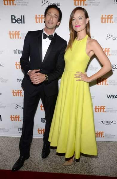 Adrien Brody et Olivia Wilde, le noir et le jaune
