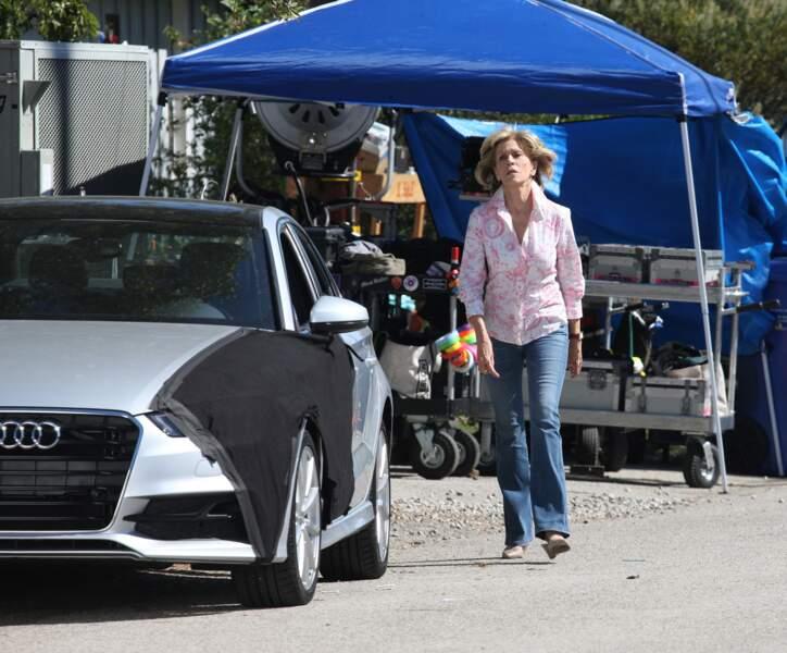 Jane Fonda sur le tournage de Grace et Frankie à Malibu