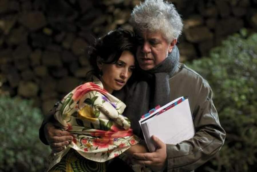 Penélope Cruz et Pedro Almodóvar sur le tournage d'Etreintes Brisées (Los Abrazos rotos) en 2009