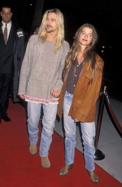 Avec le mannequin Jitka Pohlodek à l'avant-première de Légendes d'automne en 1994