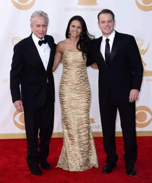 Michael Douglas accompagne Matt Damon et sa femme, Luciana Barroso