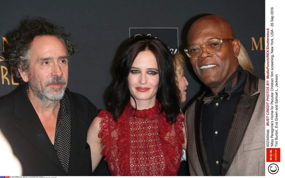 Avec le réalisateur Tim Burton et Samuel L. Jackson, le méchant du film