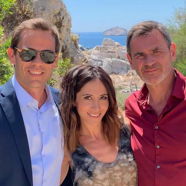 Première photo coulisse du prime de Plus belle la vie avec Guillaume Delorme, Jérôme Bertin et Fabienne Carat.