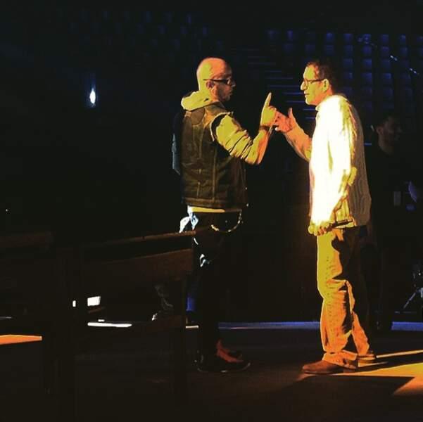 Pascal Obispo et Dany Boon sur scène