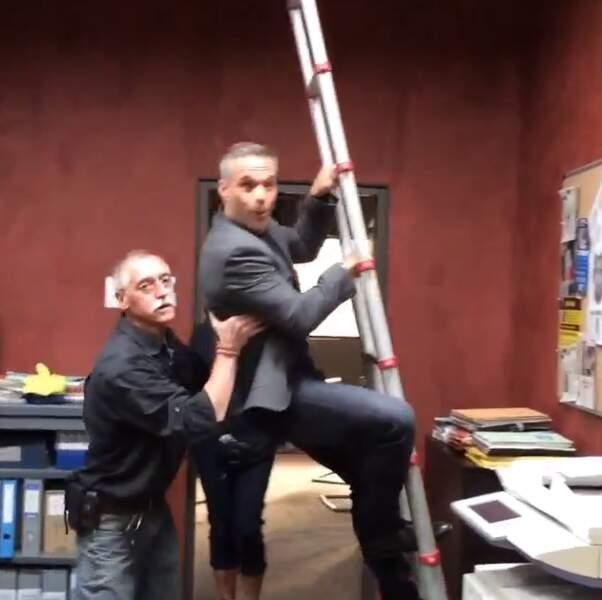 Sur le tournage de Profilage, Philippe Bas s'essaye à des petites cascades